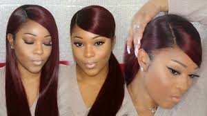 weave ponytail weave ponytail tutorial side part w swoop on a wig