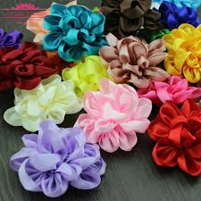 satin ribbon flowers 10pcs large chic theme puff ribbon flower 10cm satin ribbon