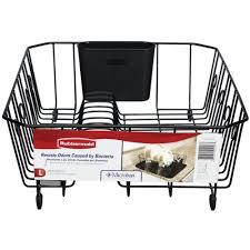 Dish Rack And Drainboard Set Rubbermaid Large Black Antimicrobial Dish Drainer Fg6032arbla