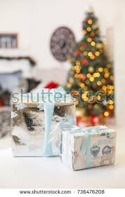 Vintage New Years Decorations by Christmas Decorated Fir Gifts Under Stock Images Royalty Free