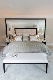 Mirrored Bedroom Bench Tinted Mirrors With Bed Quilt Bedroom Contemporary And Silver
