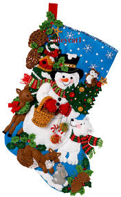 woodland snowman 18 u2033 bucilla felt christmas stocking kit 86201