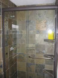semi frameless bypass shower door with through the glass towel