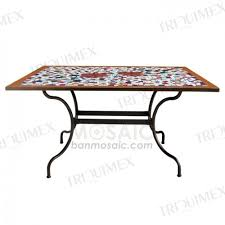 outdoor rectangular dining table ceramic mosaic and iron rectangle outdoor garden table triquimex