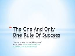 the one and only one rule of success aditya yadav