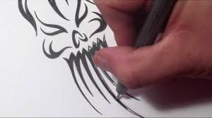 how to draw an evil tribal skull ghost tattoo design youtube