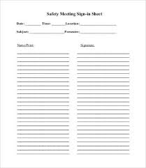 Safety Sign In Sheet Template Meeting Sign In Sheet Template 8 Free Pdf Documents