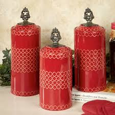 Kitchen Canister Sets Ceramic Red And Black Canisters Vintage Green Glass Canisters Red Canister