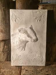 badger wall sculpture garden ornament signed artwork by
