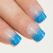 nails by bling art blue sparkle french manicure fake medium tips