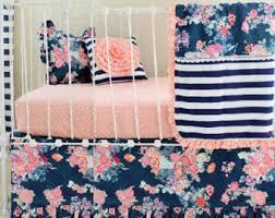 Navy And Coral Crib Bedding Navy Floral Crib Bedding Baby Bedding Coral And Navy