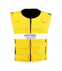 leather vest men velcro strip yellow biker leather vest