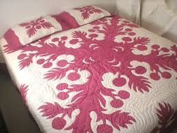 free shipping breadfruit art hawaiian quilt with pillow shams from