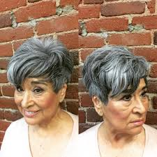 highlights for grey hair pictures women s voluminous tousled pixie with long fringe lengths and