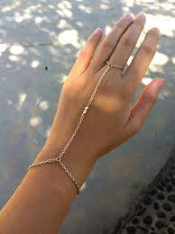 ring with chain bracelet images 14k shiny gold 3 nugget bead hand chain bracelet ring jpg