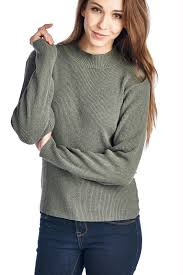 high sweaters s high neck rib knit sweater