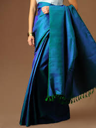 Buy Green Plain Cotton Silk Rust Soft Cotton Silk Saree With Royal Blue And Dull Gold Border