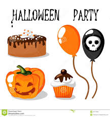 halloween party set with food balloons pumpkin royalty free