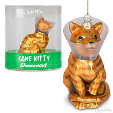 cone a ornament featuring a forlorn orange tabby