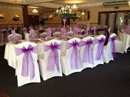 Purple Chair Covers White Chair Covers With Cadbury Purple Organza Bows At Kings