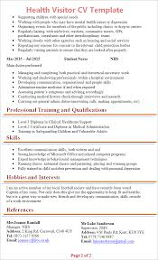Job Shadowing Resume by Health Visitor Cv Template Tips And Download Cv Plaza