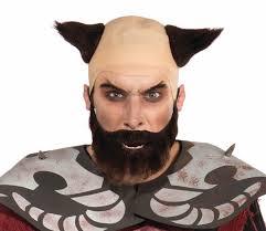 mens halloween wigs mens dark lord demon devil bald headpiece wig beard set hair