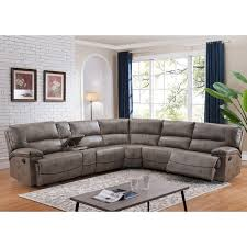 Overstock Sectional Sofas Donovan Sectional Sofa With 3 Reclining Seats Free Shipping