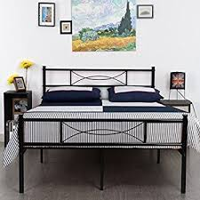amazon com greenforest full size metal bed frame with stable