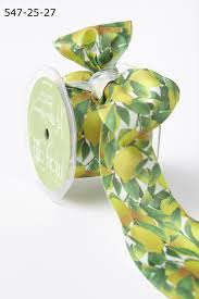 leaf ribbon 2 5 inch lemons leaves print ribbon buy ribbons online