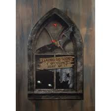 haunted house gothic window lighted canvas halloween wall decor