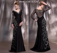 2016 mother of the bride dresses elegant black and gold v neck