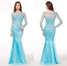 long sleeve mermaid evening dresses light blue color shiny floor