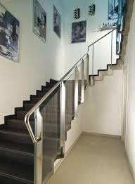 Stainless Steel Banister Stainless Steel Railing Glass Panel With Bars Indoor Marretti
