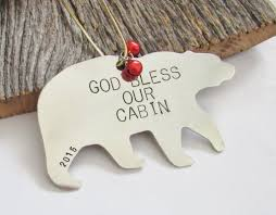 god bless our cabin personalized housewarming ornament for new
