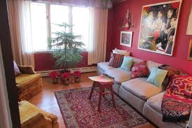 red floor paint small red floral wool carpet brown polished wooden floor silver