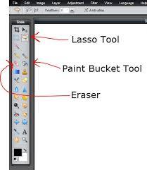 watch pixlr tools lasso tool paint bucket tool and eraser