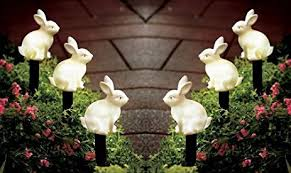Easter Bunny Lawn Decorations by Amazon Com Set Of 3 Solar Led Lighted Easter Bunny Outdoor Garden