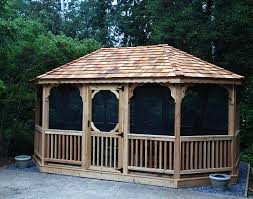 Gazebo Designs With Kitchen by Exterior Design Vintage Hardtop Gazebo With Brown Curtains And