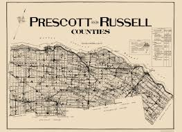 Prescott Arizona Map by Old Canada Map Prescott Russell Counties 1923