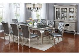 silver dining room furniture ville bronx ny amina silver dining table w glass inserts