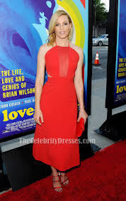 elizabeth banks red backless cocktail party dress u0027love u0026 mercy