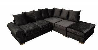 Corner Sofa Velvet Crushed Velvet Black Corner Sofa Suite Right