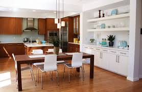 simple kitchen dining lighting with rectangle shape brown wooden