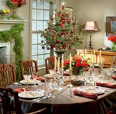 decorations christmas dining table with brown table cloth in
