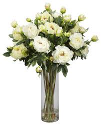 nearly natural giant peony silk flower arrangement white modern