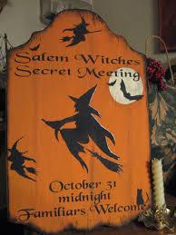 primitive halloween sign salem witches secret meeting ebay