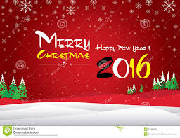 merry and happy new year 2016 the white snow and green