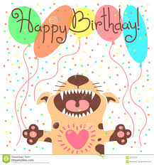 cute happy birthday card with funny puppy stock vector image