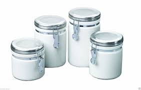 metal kitchen canisters placing white kitchen canisters from ceramic to prettify your kitchen