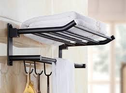 Black Bathroom Shelves New Arrival 50 Cm Folding Bathroom Towel Rack Black Brushed